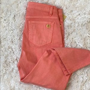 Michael Kors pink Izzy cropped skinny jean